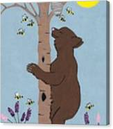 Bees And The Bear Canvas Print