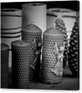 Beeswax Candles With Angels And Pinecones Canvas Print