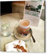 Beignet And Coffee At Cafe Du Monde Canvas Print