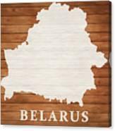 Belarus Rustic Map On Wood Canvas Print