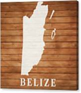 Belize Rustic Map On Wood Canvas Print
