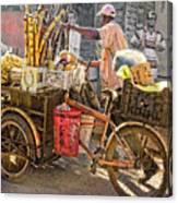 Belize Vendor With Bike Canvas Print