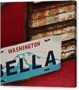 Bella License Plate Canvas Print