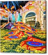 Bellagio Conservatory Fall Peacock Display Side View Wide 2017 Canvas Print