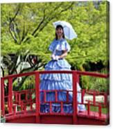 Belle On Red Bridge Canvas Print