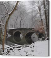 Bells Mill Bridge On A Snowy Day Canvas Print