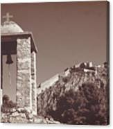 Belltower And Fortress Of Palamidi, Nafplio, Greece. Sepia. Canvas Print