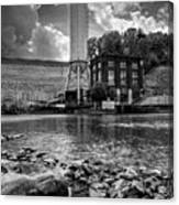 Below The Dam In Black And White Canvas Print
