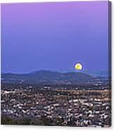 Belt Of Venus And Full Moon Rising Canvas Print