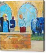 Belted Galloway Cows And People At Exeter Cathedral Canvas Print