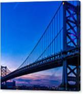 Ben Franklin Bridge At Sunset Canvas Print