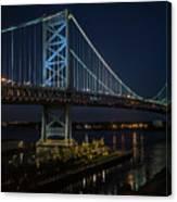 Ben Franklin Bridge In Philadelphia At Night Canvas Print