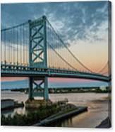 Ben Franklin Bridge In Philadelphia In The Early Morning Canvas Print