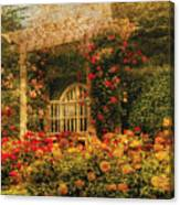 Bench - The Rose Garden Canvas Print