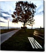 Bench And Street Light Canvas Print