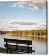 Bench By The Lake Canvas Print