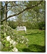 Bench In Spring Canvas Print