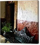 Bench In The Darkened Foyer Canvas Print