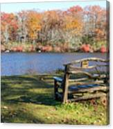 Bench On Lake Canvas Print
