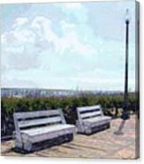 Benches Boardwalk And Lamppost 1 Canvas Print