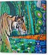 Bengal Tiger And Dragonfly Canvas Print