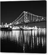 Benjamin Franklin Bridge - Black And White At Night Canvas Print