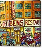 Ben's Famous Smoked Meat Montreal Memories Canadian Paintings Hockey Scenes And Landmarks  C Spandau Canvas Print