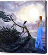 Bent Cypress And Blue Lady Canvas Print