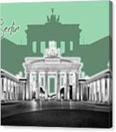 Berlin Brandenburg Gate - Graphic Art - Green Canvas Print
