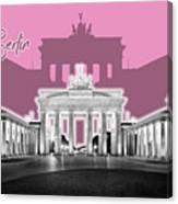 Berlin Brandenburg Gate - Graphic Art - Pink Canvas Print