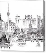 Berlin Medley Monochrome Canvas Print