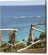 Bermuda Fence And Ocean Overlook Canvas Print