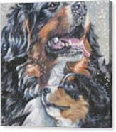 Bernese Mountain Dog With Pup Canvas Print