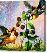 Berries And Birds Canvas Print