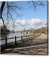 Beside The Thames At Hampton Court London Uk Canvas Print