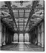 Bethesda Terrace Arcade 3 - Bw Canvas Print
