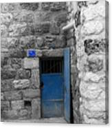 Bethlehem - Blue Old Door Canvas Print
