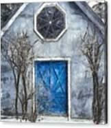 Beyond The Blue Door Pencil Canvas Print