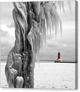 Beyond The Ice Reaper's Grasp -  Menominee North Pier Lighthouse Canvas Print