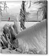 Beyond The Icy Gate - Menominee North Pier Lighthouse Canvas Print