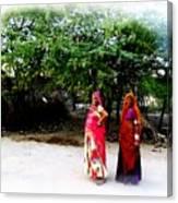 Bff Best Friends Pregnant Women Portrait Village Indian Rajasthani 1 Canvas Print