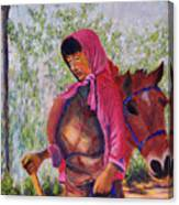 Bhutan Series - Woman With The Horse Canvas Print