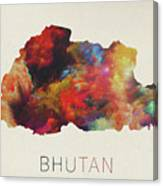 Bhutan Watercolor Map Canvas Print
