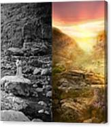 Bible - Psalm 23 - Yea, Though I Walk Through The Valley 1920 - Side By Side Canvas Print