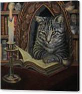 Bibliocat Reads To His Friends Canvas Print