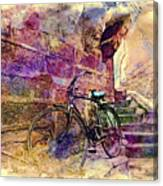Bicycle Abandoned In India Rajasthan Blue City 1a Canvas Print