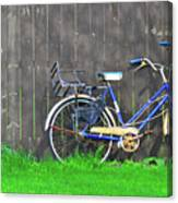 Bicycle And Gray Fence Canvas Print