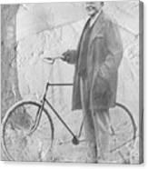 Bicycle And Jd Rockefeller Vintage Photo Art Canvas Print