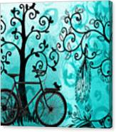 Bicycle In Whimsical Forest Canvas Print