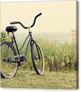 Bicycle On Beach Summer's On The Coast Canvas Print
